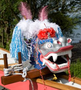 The head of Artemis Diana, one of our dragon boats.