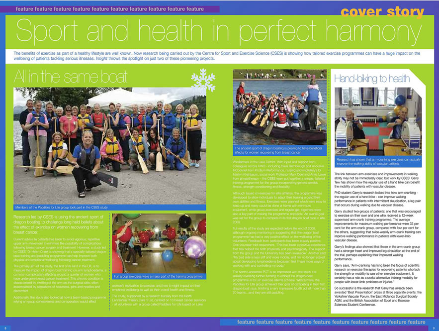 Insight article breast cancer dragon boat paddling feature.