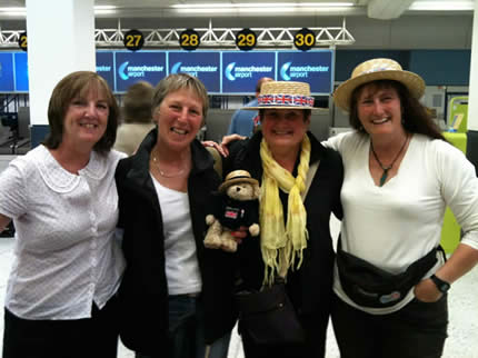 addling Bear, and a gathered entourage, Judy, Aly, Elaine, Roz , just about to board the plane at Manchester Airport on Saturday. Lots of happy faces anticipating the excitement to come.