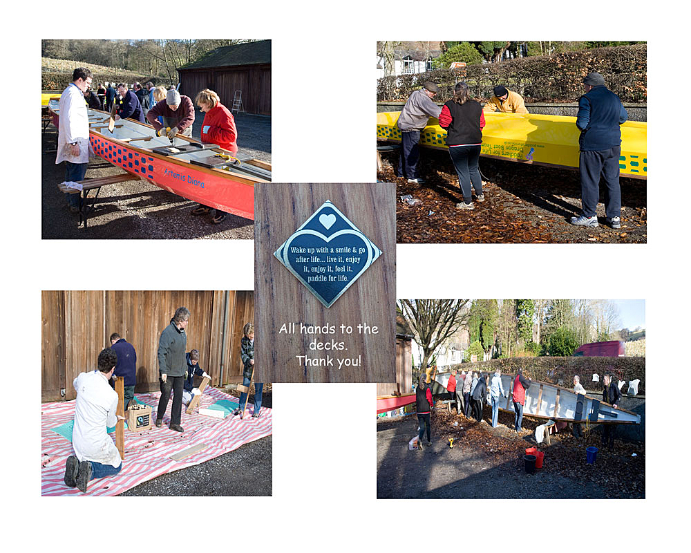 Paddlers help to clean and maintain the boats ready for the new paddling season start.