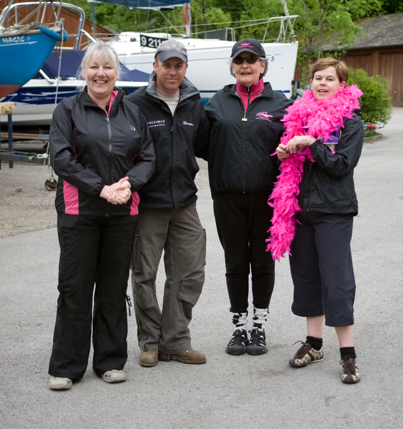 Carol Dale and Jane Frost from Abreast in a Boat, Vancouver (right) with Sue and Paul from Low Wood water sports centre.