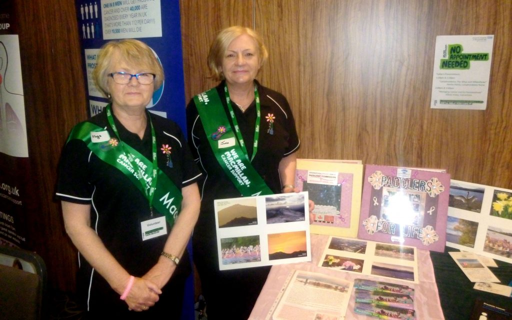 Mags and June promoted the activities of Paddlers for Life at a MacMillan Cancer health and well-being event in Kendal.
