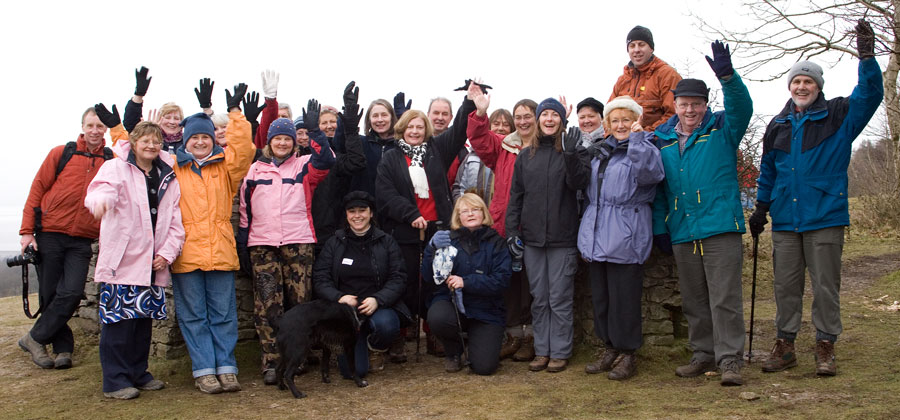 Paddlers pleased after a walk to the top of Arnside Knott.
