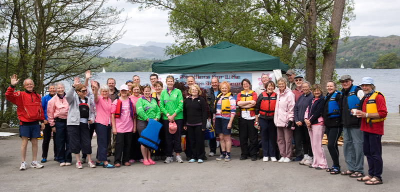Donna and Margaret (in Green) with members of Paddlers for Life.