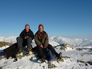 Two intrepid paddlers train for winter fitness on Wansfell
