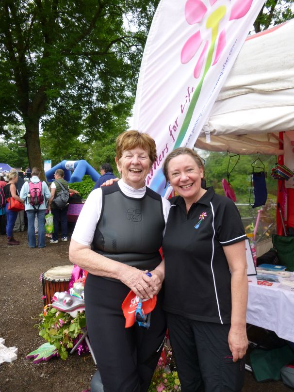 Vicky and Rowena complete the one mile open water swim raising funds for Paddlers for Life.
