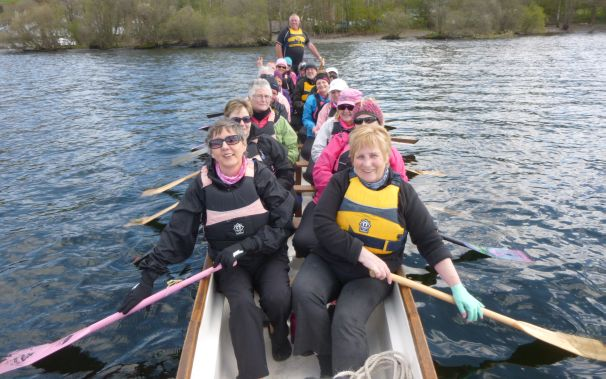 Jo Parry, a visitor from Brisbane, Australia paddles with us.