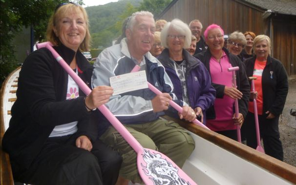 Jo and Keith visited to present a cheque for £410 to Paddlers for Life Windermere from a fundraiser held by their Masonic Lodge.