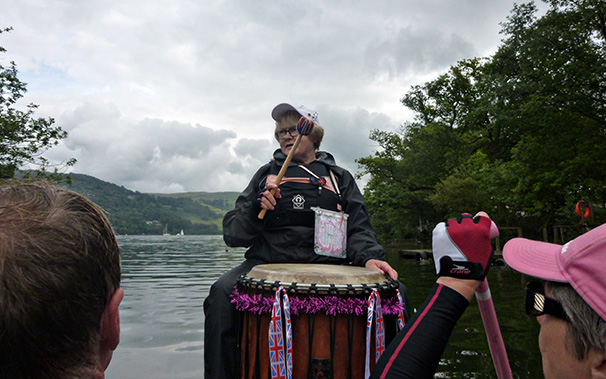 Mags drums as crews prepare for the regatta with a sustained paddle touring Windermere north to Wateredge, Wray Castle and back to Low Wood.
