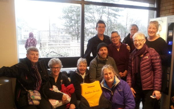 Members attended a water confidence session and  Yes that is snow outside!.