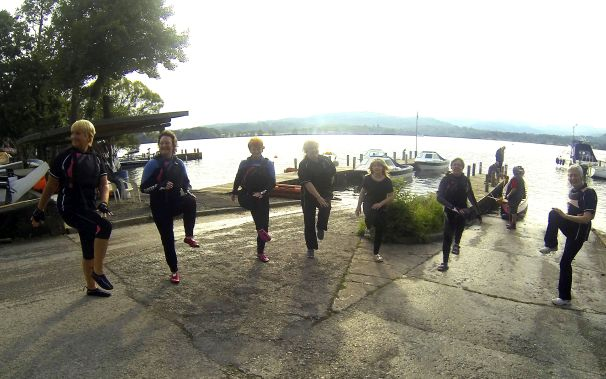 Paddlers prepare for a controlled water safety event which will lead to a dip in Windermere.