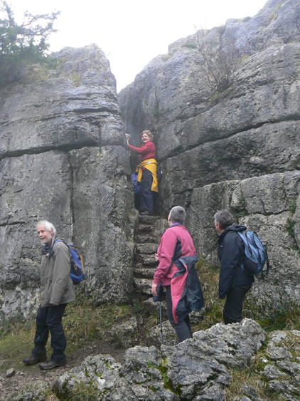 Paddlers negotiated the narrow limestone fissure that is the Fairy Steps in spite of the 'moist' conditions.