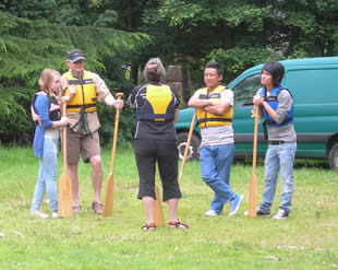 Members of the public were given a safety briefing and some elementary paddling tips before entering the boats.