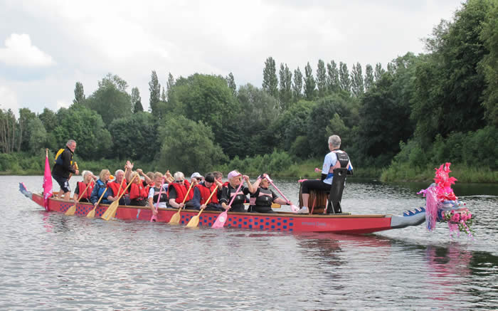 Artemis Diana dragon boat in her new home at Debdale, Manchester.