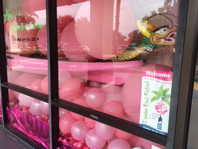A pink window display in Sarasota.