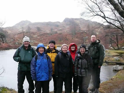 Winter fitness walk at Holme Fell, Langdale.