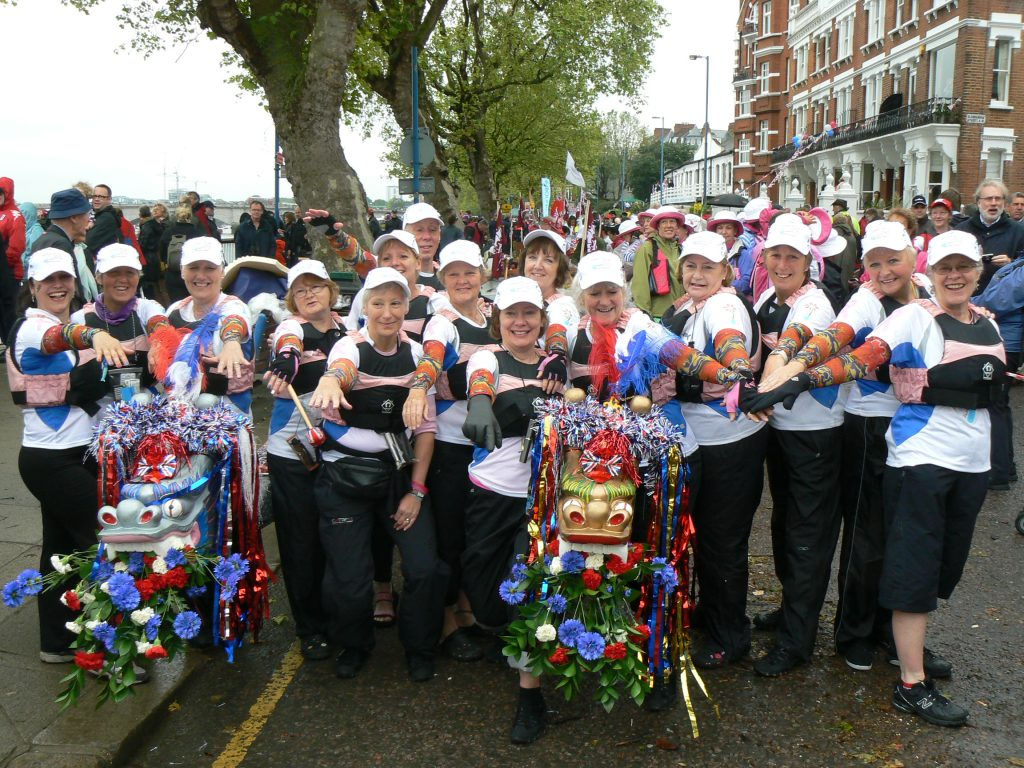 The crew representing Paddlers for Life who paddled 13 miles of the River Thames in the Jubilee Pageant Flotilla.