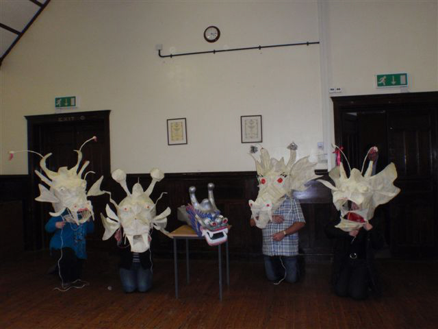 It was a memorable day at the brilliant Upfront Gallery and Skelton Village Hall.John Parkinson inspired us to build not one, but four dragon heads. It is utterably amazing what can be done with wire and tape.Everyone there met this challenge with huge enthusiasm and creativity! AND...good news!... if you were not there, you too could get stuck into it (so to speak).There is much more to be done to complete our dragons. If you wish to be involved, please contact anyone who was there. It's great fun!