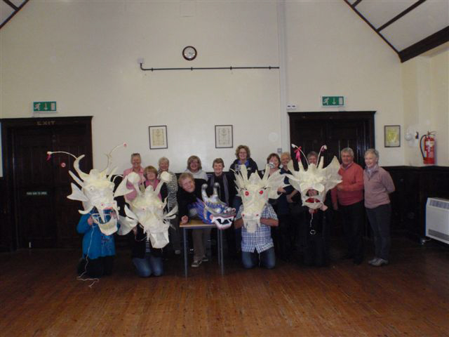 Making dragon puppets at the Upfront Gallery near Penrith.