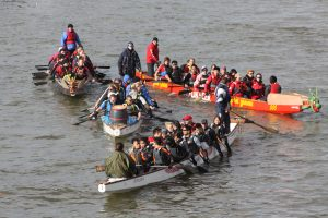 Thames trial for dragon boats in the Jubilee Pageant.