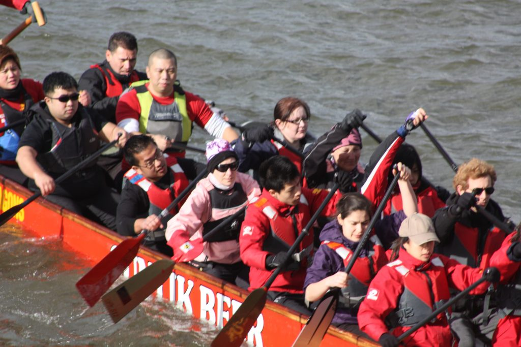 Louisa and Sue participate in a trial run for the Jubilee Pageant to check the safety of dragon boats on the Thames.