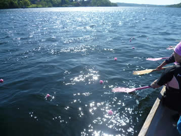 Flowers on the water remembering a fellow paddler.