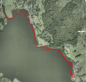 Route of paddle.