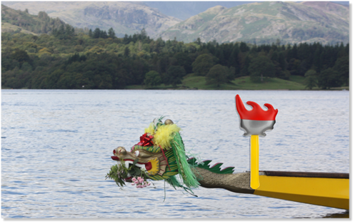 In solidarity with the London Olympics Lucy carried the 'Olympic Torch' over Windermere.