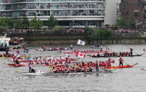 Here we are with other dragon boat teams including an international team from the IBCPC using one of our dragon boats.