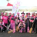 Click for images of paddlers promoting breast cancer awareness month in October by 'Paddling in Pink'.