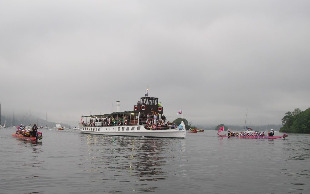 Paddlers for Life paddled two dragon boats accompanying the Olympic Torch on the Tern from Waterhead to Bowness-on-Windermere.