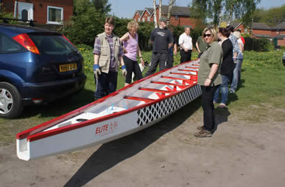 A new dragon boat for Wigan Water Dragons.