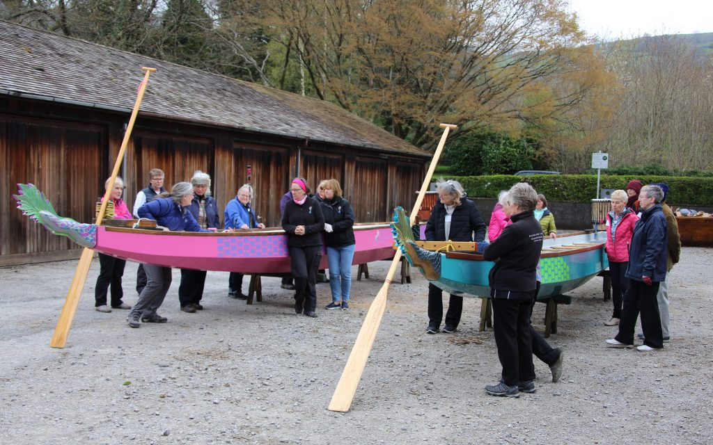Roz trains members in readying and dressing the boats for paddling.