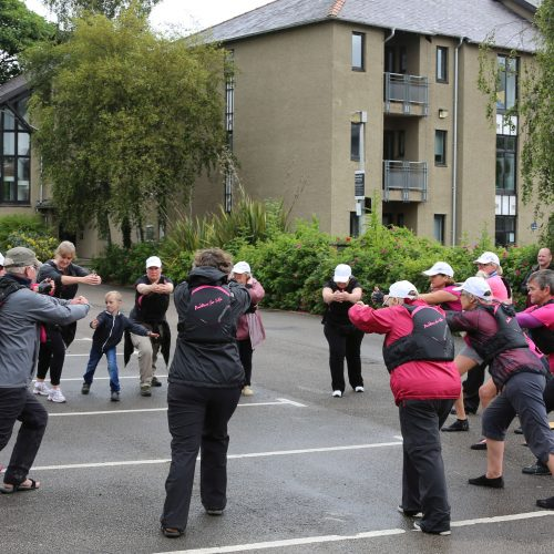 A crew warms up ready for the third relay from Lancaster to Tewitfield approximately 14 miles.