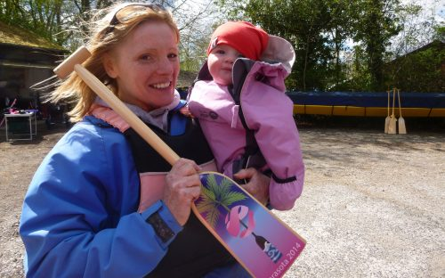 Our coach Keni brought along the new arrival to her family who was presented with her own dragon boat paddle. 2015