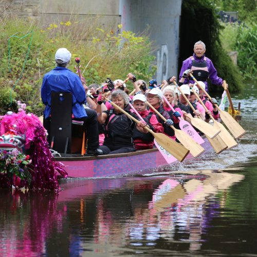Helen helms just north of Lancaster as the dragon boat approaches Hest Bank.