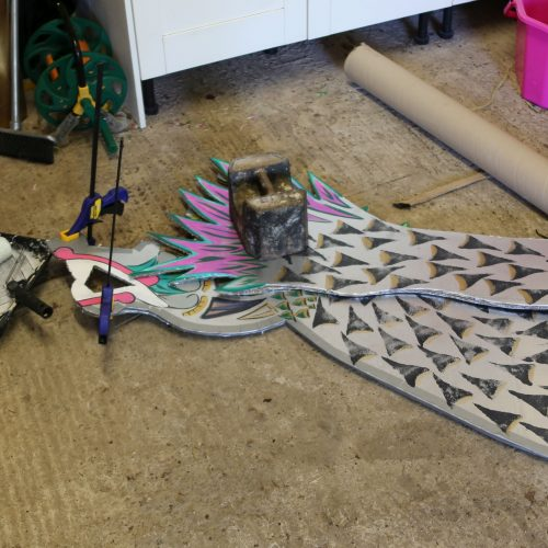 Of course it had to have a cardboard dragon head and tail.