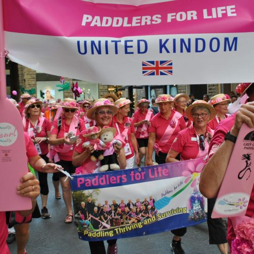 Paddlers ready themselves for the Parade of Teams, a key part of these international events.