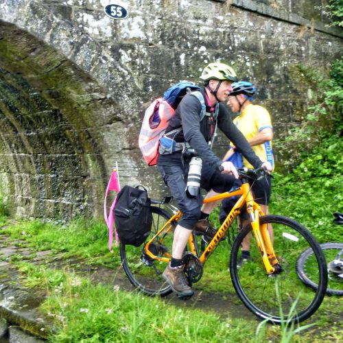 Three cyclists pedalled the full length of the canal relay providing safety support and publicity.