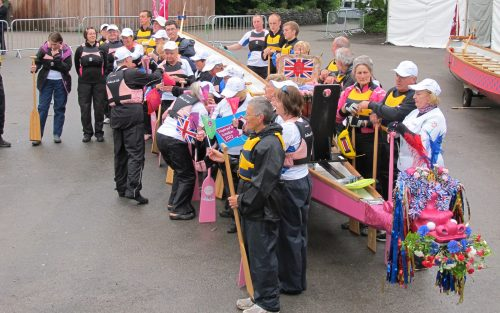 Final preparations for the six mile paddle from Wateredge to Bowness and back with the Olympic Torch relay in 2012.