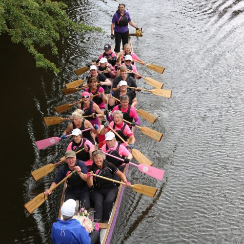 Still plenty of energy and enthusiasm shown in this view from one of the canal bridges.