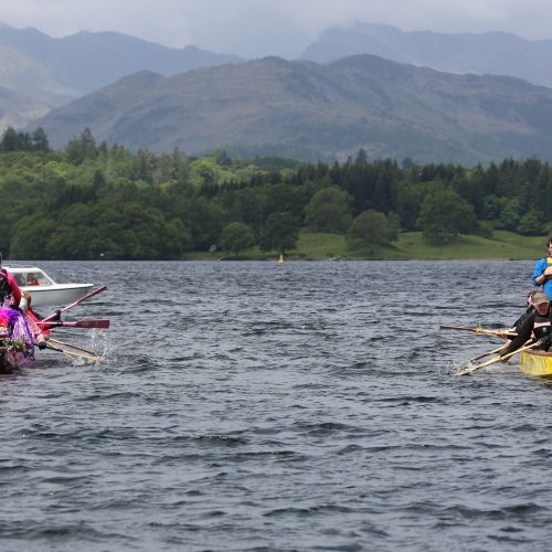 Part of the ceremony is to paddle the dragon boats rapidly forward then'beat the waters' with paddles to frighten away evil spirits. 2016
