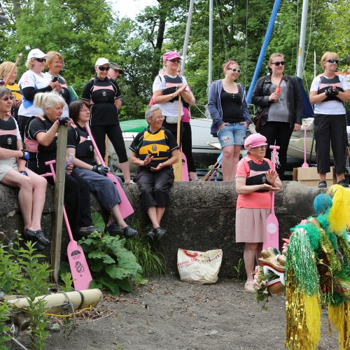 Paddlers watch as our two dragons awaken. 2013