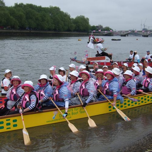 The Paddlers for LIfe and IBCPC crews on the water after launching their dragon boats at Putney.