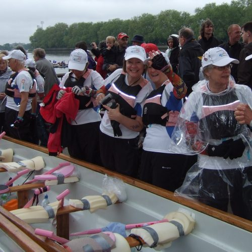 Preparing to launch and ready for any conditions paddlers prepare for five hours on the water.
