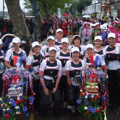 This is the crew who paddled the boat 12 miles along the Thames but many paddlers and supporters were in London to give their enthusiastic support.