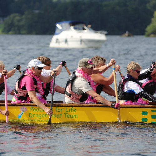 Getting into sync as they paddle to race start.