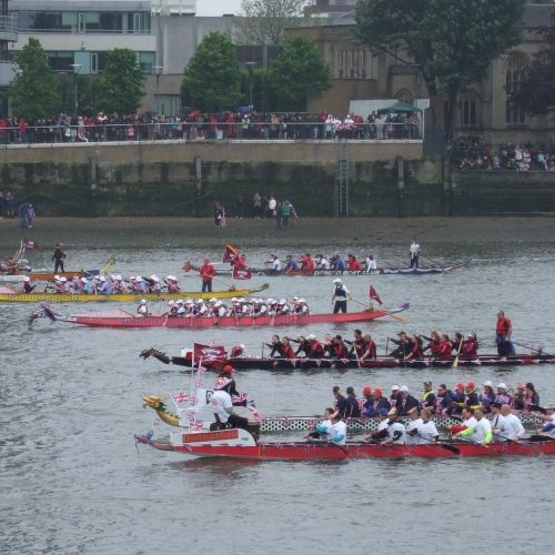 The international team of breast cancer paddlers had Dr. Don McKenzie as their helm or steersperson. His initial sports science research was the stimulus for the development of breast cancer dragon boat paddling teams across the world.